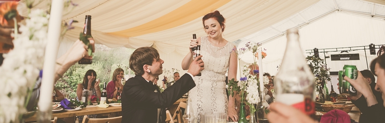 Sophie & Rob had a marquee for their wedding in Cornwall from Absolute Canvas.